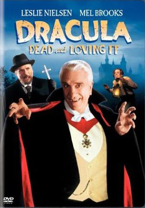 Movie poster for film 'Dracula: Dead and Loving It', starring Leslie Nielson