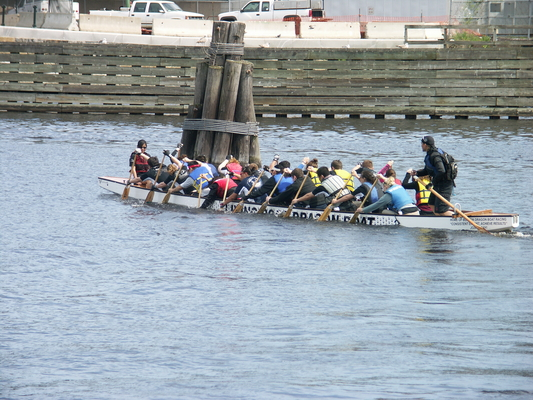 the Living Root Dragon Boat team practicing